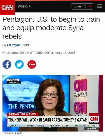 "It's understood that by ""moderate Syria rebels,"" CNN (1/16/15) means the good kind. (And ""equip"" here is a euphemism for ""arm."")"