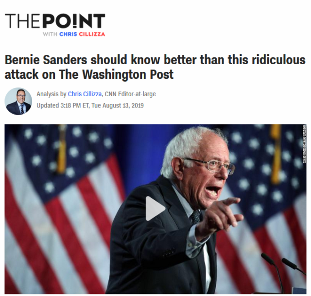 """Sanders' """"ridiculous"""" claim, according to Chris Cillizza (CNN, 8/13/19), is that the owner of a media outlet has an impact on its viewpoint."""