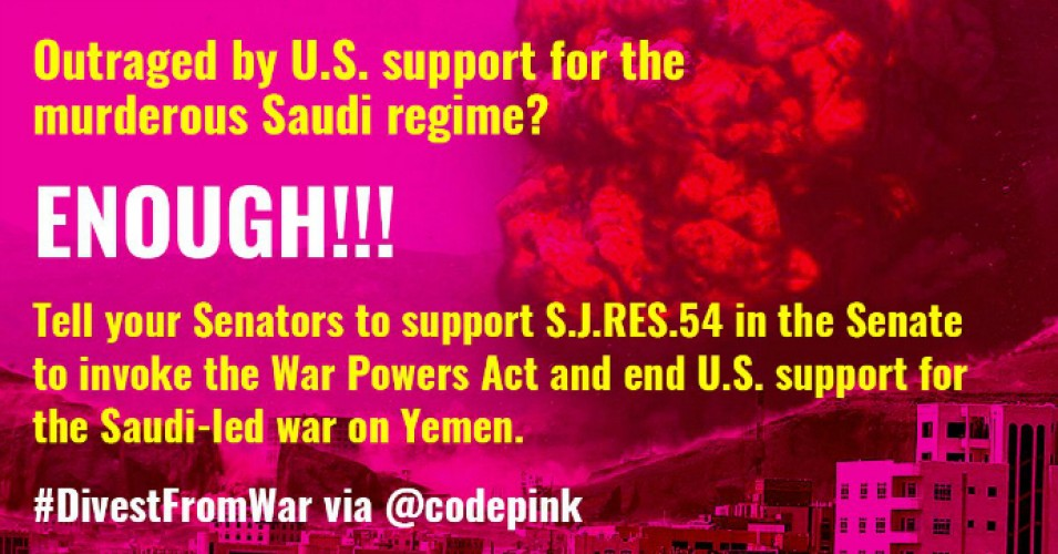 """It's long past time to end U.S. support for Saudi Arabia's devastating war in Yemen,"" Peace Action wrote on Twitter. (Photo: CodePink/Twitter)"