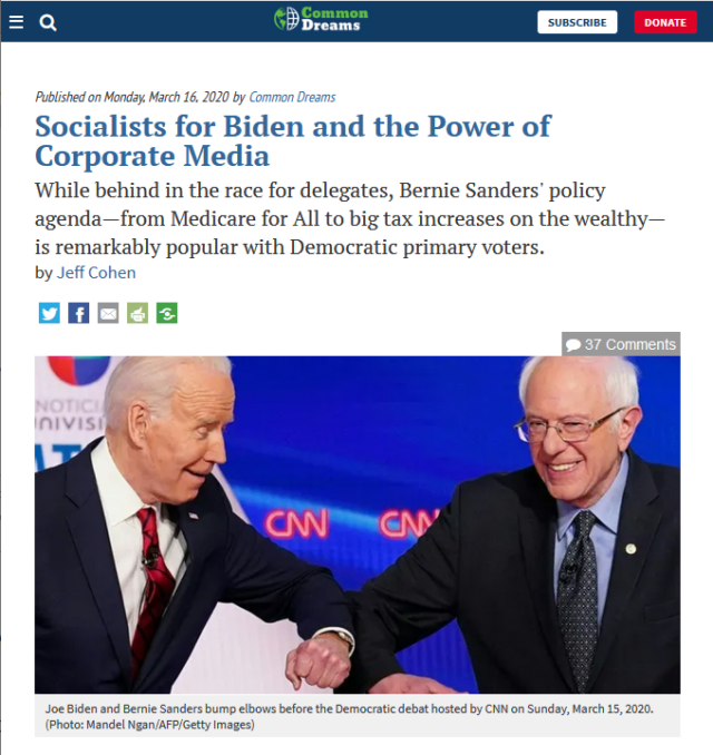 """Jeff Cohen (Common Dreams, 3/16/20): """"The media barrage on electability has proved…persuasive to many Democrats—apparently convincing them that Biden can defeat Donald Trump while Sanders is a huge risk."""""""