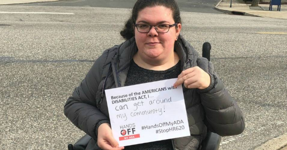 Disability rights advocates have opposed a U.S. House bill, passed Thursday, which would weaken the Americans with Disabilities Act. (Photo: Emily Ladau/Twitter)
