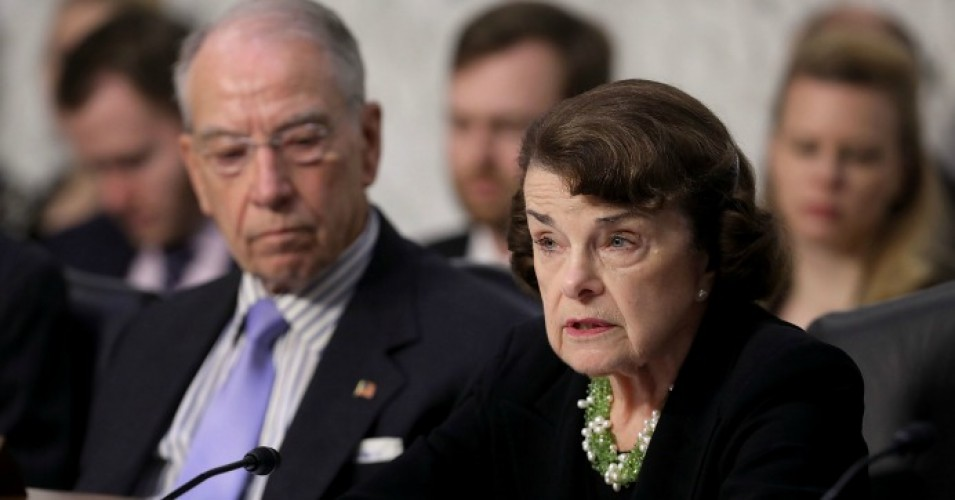 Senate Judiciary Committee ranking member Dianne Feinstein (D-Calif.) (R) and Chairman Charles Grassley (R-Iowa) engage in a debate with fellow members of the committee during the third day of Supreme Court nominee Judge Brett Kavanaugh's confirmation hearing in the Hart Senate Office Building on Capitol Hill September 6, 2018 in Washington, D.C. (Photo: Chip Somodevilla/Getty Images)