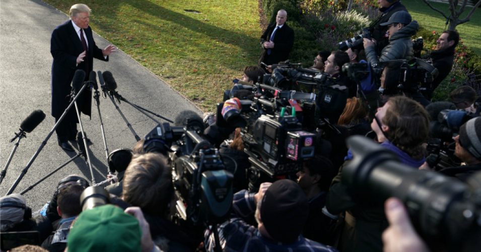 President Donald Trump speaks to members of the media prior to his departure from the White House November 20, 2018 in Washington, D.C. (Photo: Alex Wong/Getty Images)