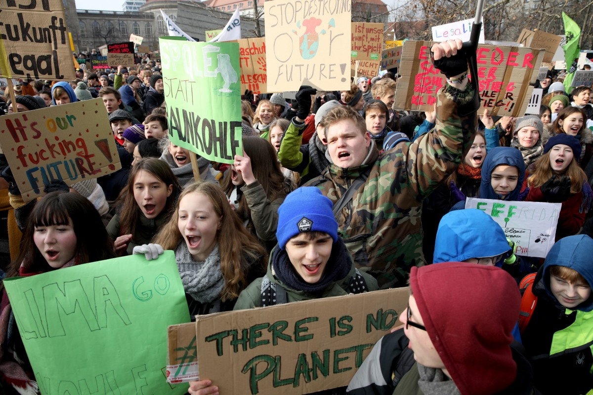 Striking high school students march to protest for more effective government climate change policy on January 25, 2019 in Berlin, Germany. The march, titled 'Friday for Future,' is coinciding with a meeting of the German government Coal Commission, which is due to present its policy recommendation today for charting Germany's reduction of coal-based energy production. Over the last 15 years Germany has made strong strides in renewable energy production, though coal from domestic mines remains its biggest energy source. (Photo: Omer Messinger/Getty Images)