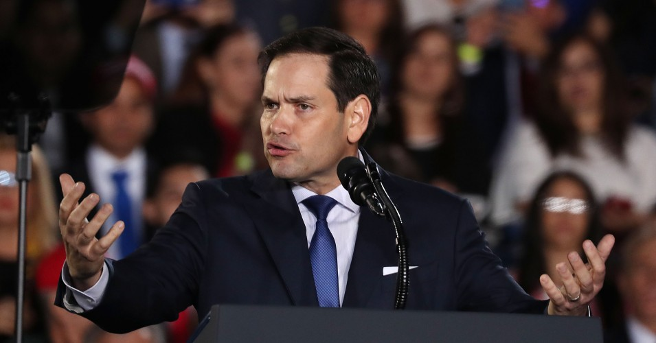 Sen. Marco Rubio (R-Fla.) speaks about Venezuela before the arrival of President Donald Trump during a rally at Florida International University on February 18, 2019 in Miami, Florida. President Trump is scheduled to speak about the ongoing crisis in Venezuela. (Photo: Joe Raedle/Getty Images)