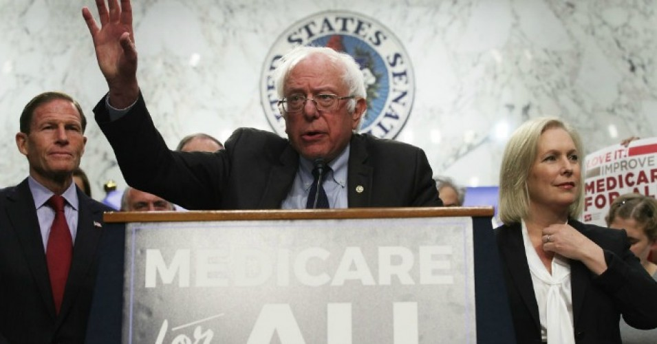 Sen. Bernie Sanders (I-Vt.) speaks on healthcare as Sen. Richard Blumenthal (D-Conn.) and Sen. Kirsten Gillibrand (D-N.Y.) listen during an event September 13, 2017 on Capitol Hill in Washington, D.C. (Photo: Alex Wong/Getty Images)