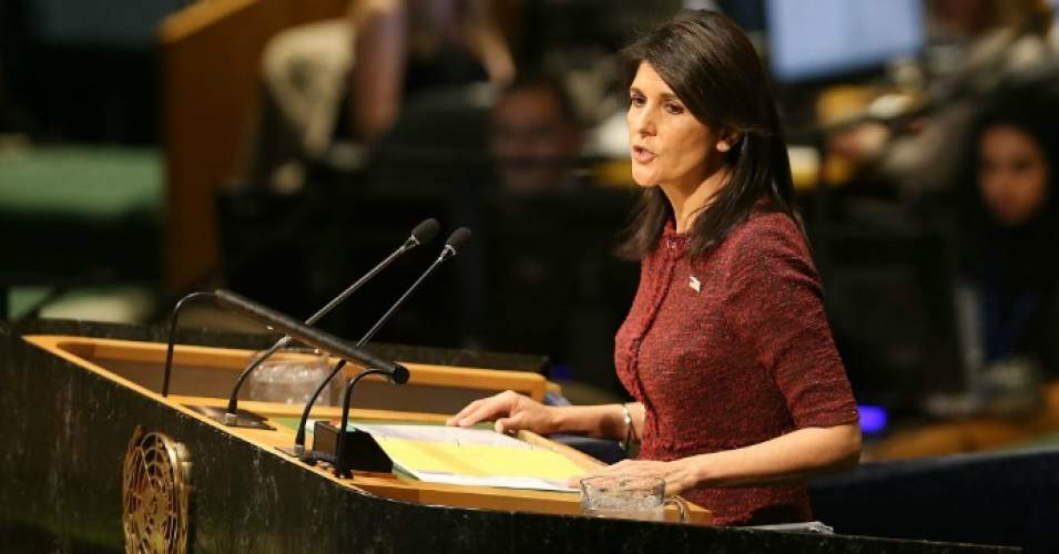 Nikki Haley, United States Ambassador to the United Nations, speaks on the floor of the General Assembly on December 21, 2017 in New York City. (Photo: Spencer Platt/Getty Images)