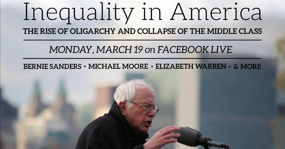 Streaming live on Facebook at 7pm EDT on Monday night, Sen. Bernie Sanders (I-Vt.) will be joined by Sen. Elizabeth Warren (D-Mass.) and Michael Moore, along with other advocates and experts, as they explore inequality, the rise of oligarchy, and the death of the middle class. (Photo: senate.sanders.gov)