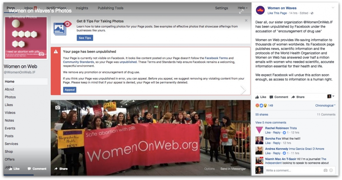 Abortion pill group's Facebook page deleted over promoting 'drug use'