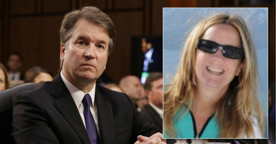 """Dr. Christine Blasey Ford is not on trial. She stepped forward and has now been forced into hiding by death threats and violent harassment. She deserves the opportunity to testify in a way that is safe and fair,"" NARAL declared on Twitter. (Photos: Getty Images/ResearchGate via The New York Daily News)"