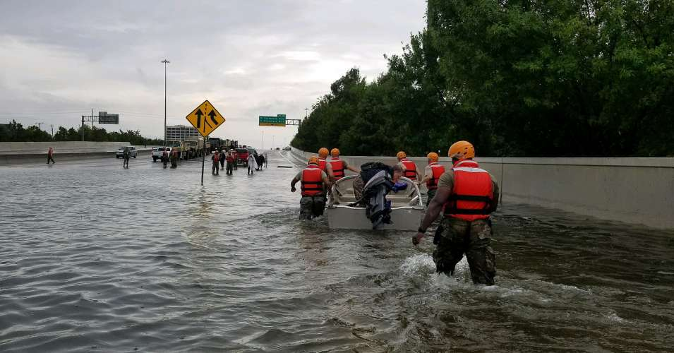 The National Guard arrived in Houston over the weekend to rescue residents, many of whom hadn't been able to evacuate ahead of Hurricane Harvey's landfall. (Photo: National Guard/Flickr/cc)
