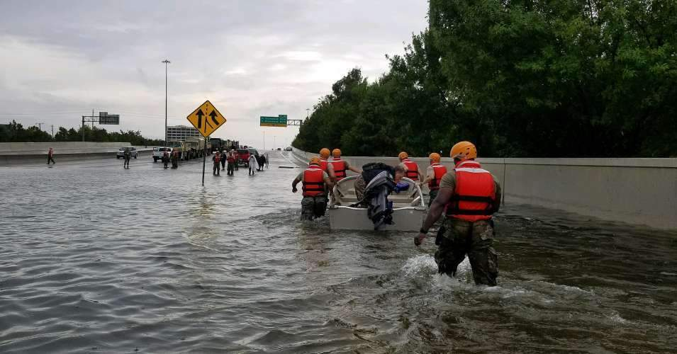 The National Guard arrived in Houston in late August of 2017 to rescue residents, many of whom hadn't been able to evacuate ahead of Hurricane Harvey's landfall. (Photo: National Guard/Flickr/cc)