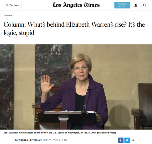 "The LA Times' Virginia Heffernan (9/20/19) praises Warren for not ""caterwauling about revolution"" like Sanders."
