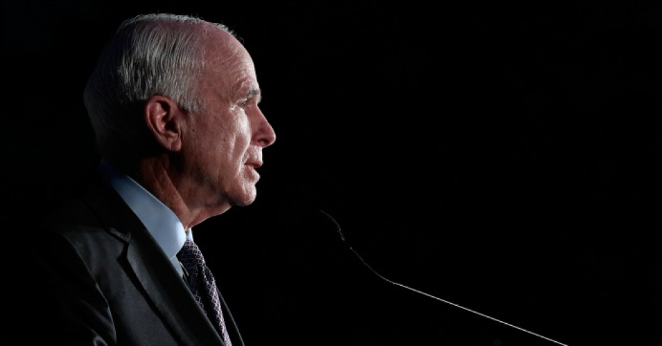 Senator John McCain (R-AZ) speaks at American Visionary: John F. Kennedy's Life and Times debut gala at Smithsonian American Art Museum on May 2, 2017 in Washington, DC. Last week, McCain was diagnosed with a potentially terminal form of brain cancer. (Photo by Larry French/Getty Images for WS Productions