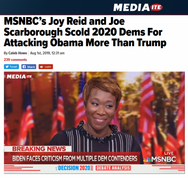 MSNBC hosts helped promote the storyline that criticisms of Biden were really attacks on Obama (Mediaite, 8/1/19).