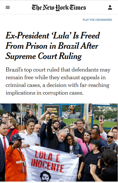 "The New York Times (11/8/19) waited until the 18th of 28 paragraphs to mention ""questions about the fairness of Mr. da Silva's prosecution."""