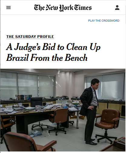 "The New York Times (8/25/17) depicted Judge Sérgio Moro as ""the face of the national reckoning for Brazil's ruling class."" He now heads the Justice Department in the fascist government of Jair Bolsonaro."