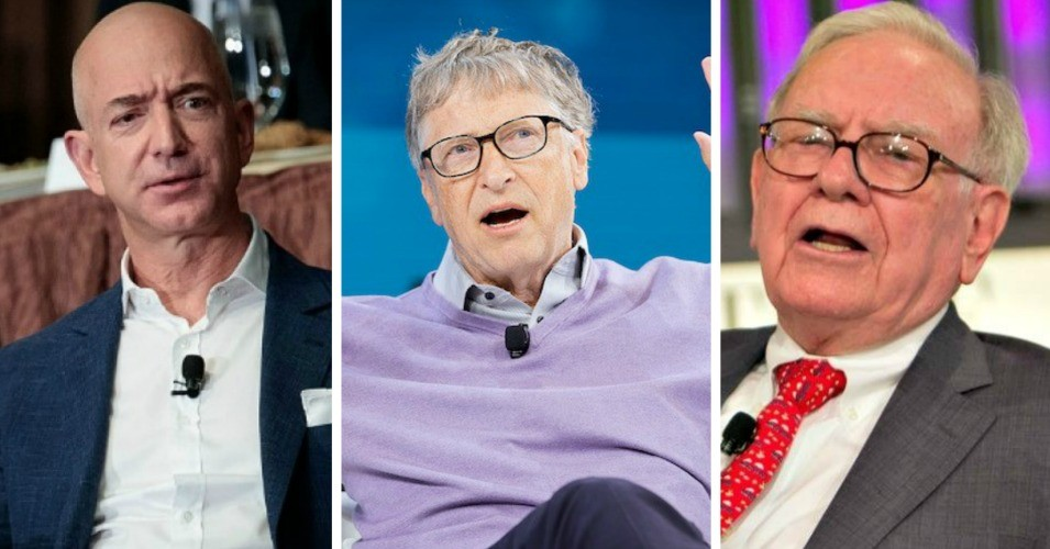 Amazon CEO Jeff Bezos, Microsoft founder Bill Gates, and Berkshire Hathaway CEO Warren Buffett are the three richest people in the U.S., with more combined wealth than the bottom 50% of the population. (Photo: Drew Angerer/Getty Images, Michael Cohen/Getty Images/The New York Times, Fortune Live Media/Flickr/cc)