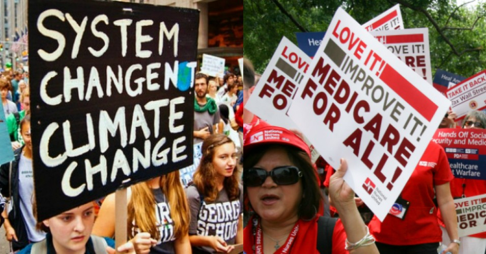 Polling results published Tuesday show that it is very important to the majority of Democratic voters that the 2020 presidential candidate support aggressive climate policies and Medicare for Al. (Photos: Joe Brusky/Flickr/cc; National Nurses United/Flickr/cc)