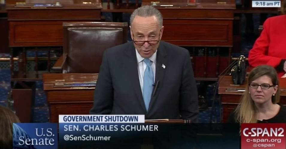 Minority Leader Chuck Schumer (D-N.Y.) announced on Monday that the necessary number of Democrats would vote to pass a three-week spending bill to end the shutdown without a deal on protections for undocumented young people. (Photo: C-SPAN/screenshot)