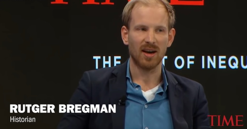"Dutch historian and author Rutger Bregman told those gathered at last week's Davos summit his advice was this: ""Just stop talking about philanthropy, and start talking about taxes."" (Image: Time/WEF)"