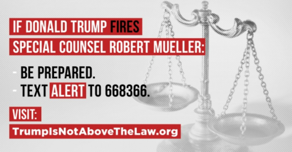 """This may be the first step in President Trump's attempt to fire Special Counsel Robert Mueller,"" Noah Bookbinder, executive director of Citizens for Responsibility and Ethics in Washington (CREW), said in a statement after Sessions' ouster on Wednesday (Photo: TrumpIsNotAbovetheLaw.org)"