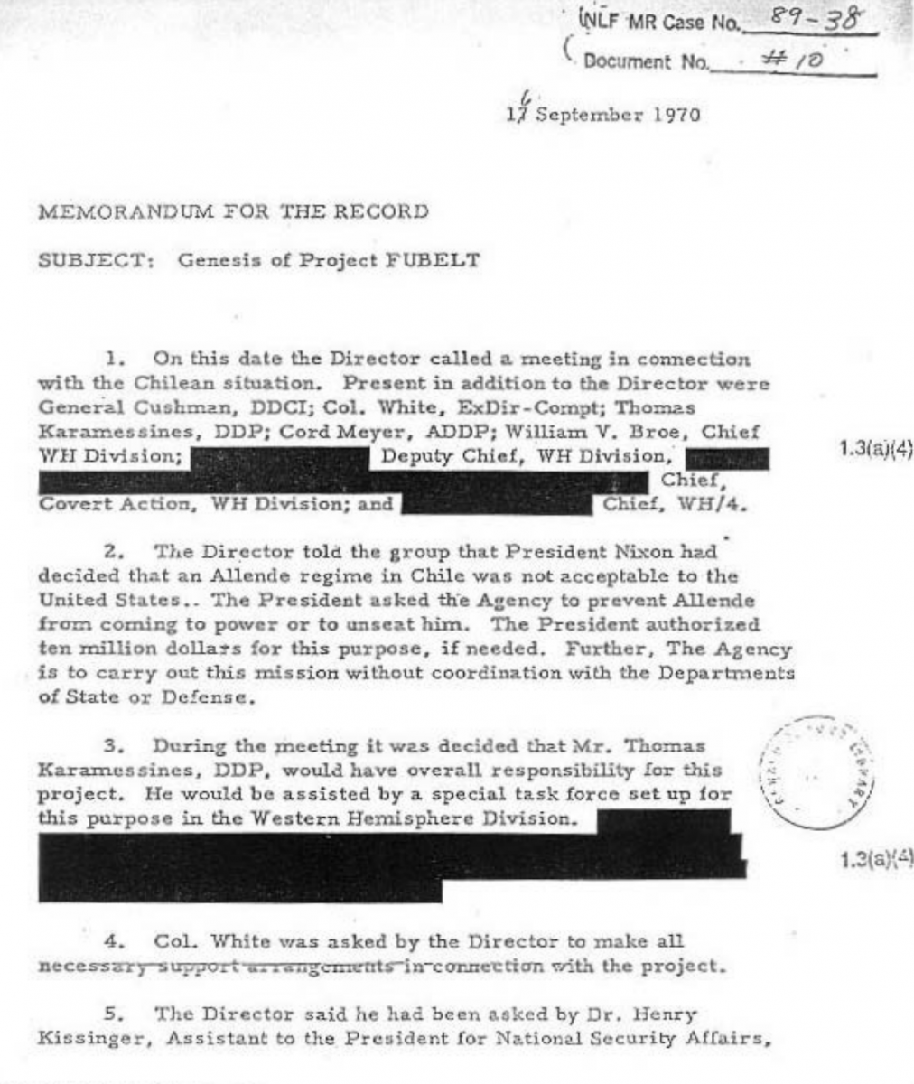 CIA memorandum on Project FUBELT, September 16, 1970.