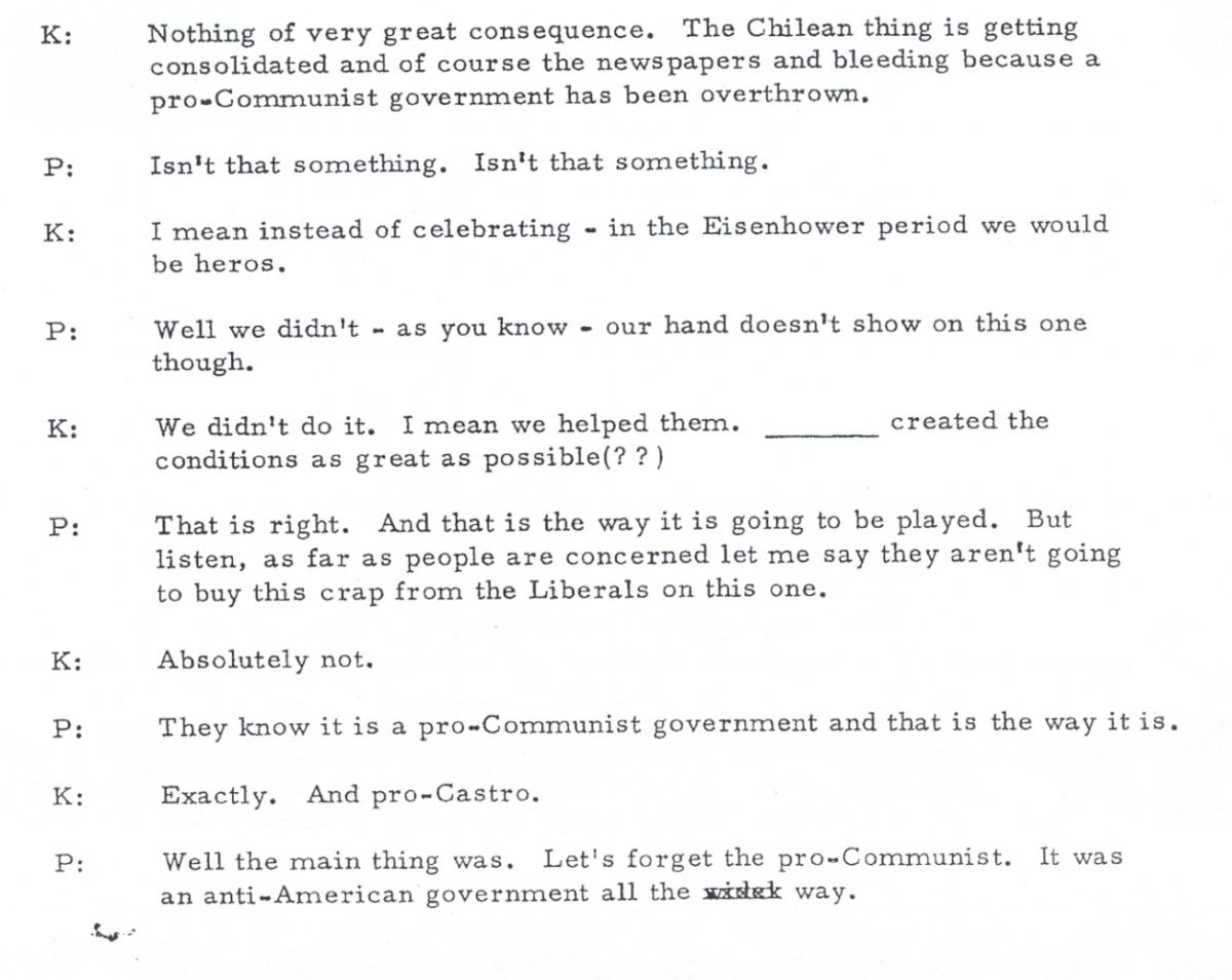 Phone call between Richard Nixon (P) and Henry Kissinger (K) on September 16, 1973.