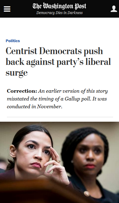 Washington Post (3/1/19) warns against young progressive representatives like Alexandria Ocassio-Cortez and Ayanna Pressley.