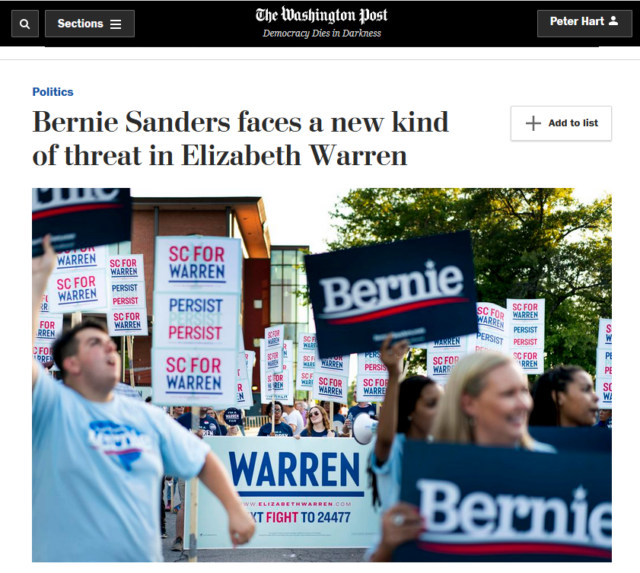 "The Washington Post (6/24/19) contrasts the ""impassioned but reasonable"" Warren with Sanders, ""the ideological outlier in the race."""