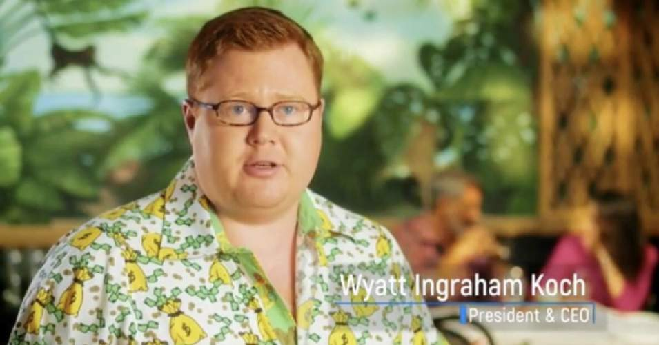 "Wyatt Koch, son of billionaire Bill Koch, who sells luxury button-down shirts ""festooned with actual money bags"" designed to be worn ""in the board room"" and ""on a yacht,"" counts among his favorite things ""playing tennis at Mar-a-Lago."" (Photo: Instagram/Screenshot)"