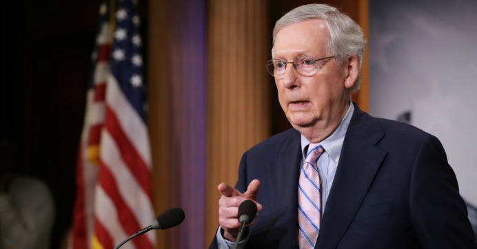 Senate Majority Leader Mitch McConnell (R-Ky.) talks to reporters after the Senate voted to confirm Supreme Court nominee Judge Brett Kavanaugh at the U.S. Capitol October 06, 2018 in Washington, D.C. (Photo: Chip Somodevilla/Getty Images)