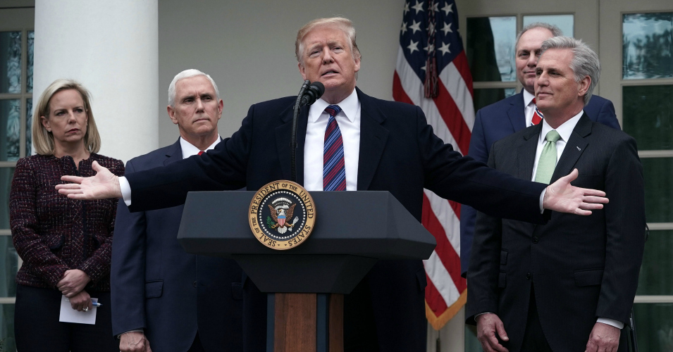 President Donald Trump speaks as Secretary of Homeland Security Kirstjen Nielsen, Vice President Mike Pence, House Minority Whip Rep. Steve Scalise (R-La.), and House Minority Leader Rep. Kevin McCarthy (R-Calif.) listen in the Rose Garden of the White House on January 4, 2019 in Washington, D.C. (Photo: Alex Wong/Getty Images)