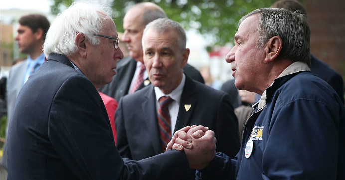 Democratic presidential candidate Bernie Sanders (D-VT) shakes hands with United Steelworkers President, Local 1999, Chuck Jones, after having breakfast at Peppy Grill on May 3, 2016 in Indianapolis, Indiana. (Photo: Joe Raedle/Getty Images)