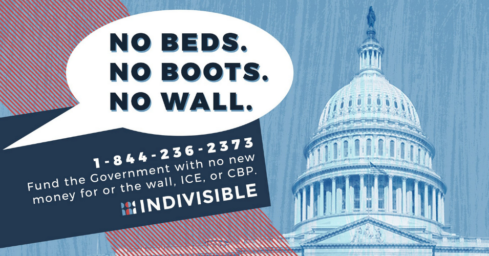 """This deal gives ground on immigration agents, border construction, and detention beds. And importantly, does nothing to rein in ICE abuses,"" Indivisible declared on Twitter. (Image: Indivisible)"