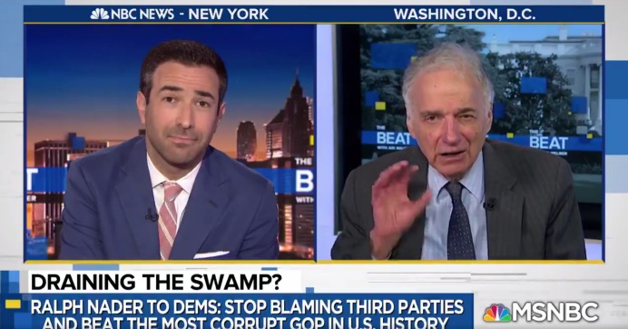 """Democratic Party: stop scapegoating, look in the mirror, and ask yourself why you cannot landslide the worst, the most ignorant, the most corporate indentured, the cruelest Republican Party in history,"" Nader said. (Photo: MSNBC/Screengrab)"