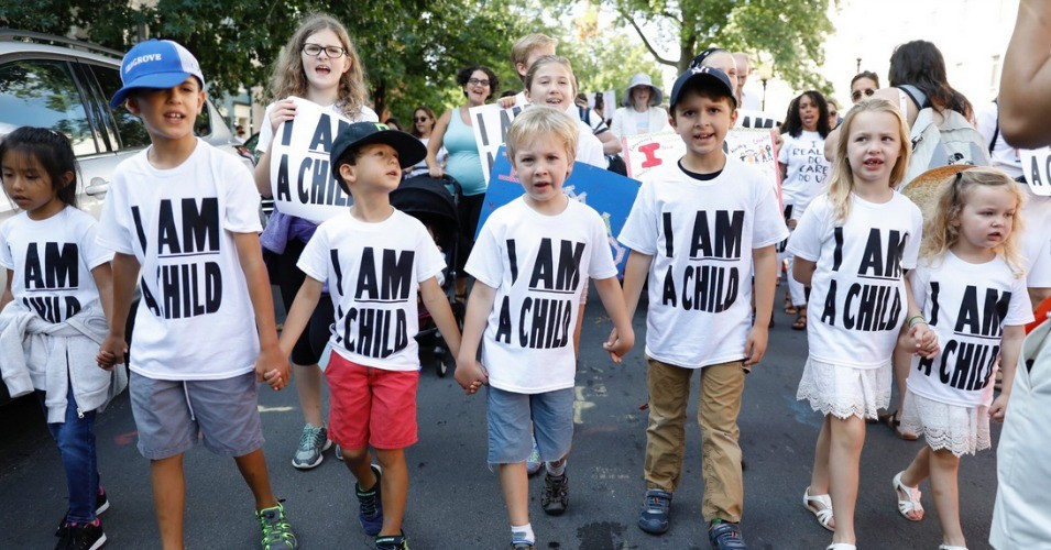 Children led a protest on Capitol Hill on Thursday, as the deadline for the Trump administration's reunification of all the families it's separated arrived. (Photo: @WomenBelong/Twitter)