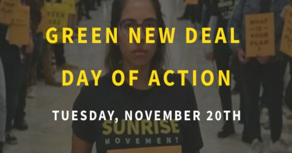 """Youth are taking action in their districts to pressure federal policymakers to back the only rational response to the climate crisis—a massive economic mobilization over the next decade to get our country off fossil fuels,"" 350.org said in a statement. (Photo: Sunrise Movement)"