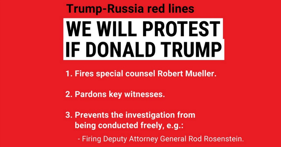 """If Trump fires Rod Rosenstein, join March for Truth, MoveOn, our coalition partners and over 400,000 people who have pledged to protest,"" noted MoveOn.org's Jordan Uhl. (Photo: MoveOn.org/Twitter)"