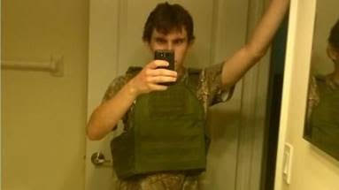 The Army is a brand. It grants licenses for retailers to sell official camouflage shirts and flak jackets, modeled here by Nikolas Cruz. Or, is he wearing a less desirable knock off?