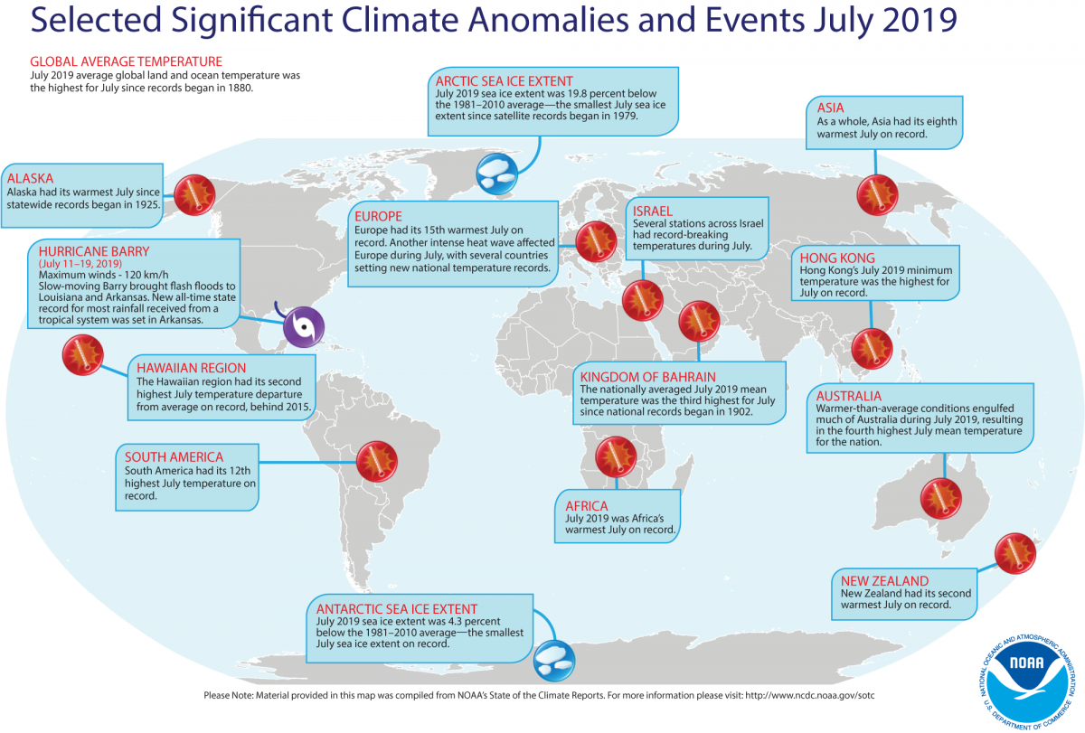 An annotated map of the world showing notable climate events that occurred around the world in July 2019. (Image: NOAA)