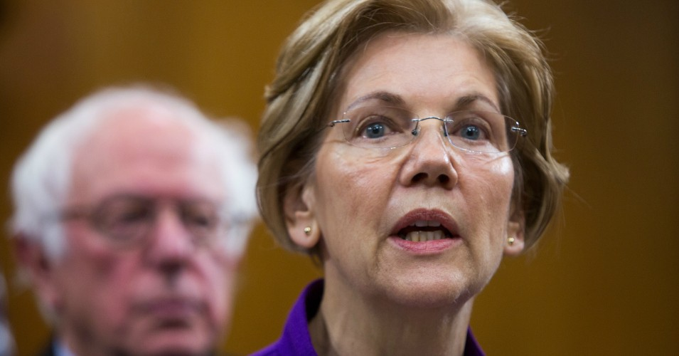 Senator Elizabeth Warren (D-Mass.) attends a news conference with Sen. Bernie Sanders (I-Vt.) on November 28, 2017 in Washington, D.C. Both co-sponsored a resolution opposing Israel's annexation of the West Bank. (Photo by Tasos Katopodis/Getty Images)