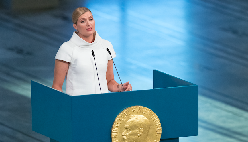Beatrice Fihn, executive director of ICAN, accepted the Nobel Peace Prize on Sunday. Her coalition worked to advance an anti-nuclear treaty signed by 122 countries this year. (Photo: Nigel Waldron/Getty Images)