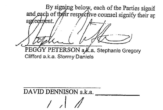 Signature page of a non-disclosure agreement allegedly made between President Donald Trump and Stormy Daniels.