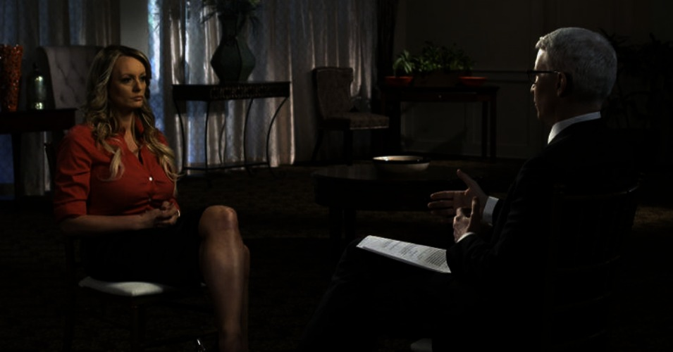 """Adult film star Stormy Daniels appeared on """"60 Minutes"""" on Sunday night to give a long-awaited interview about her alleged affair with President Donald Trump. (Image: CBS/screenshot)"""