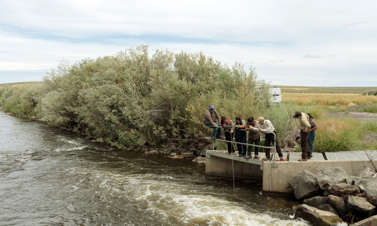 Tribal stewards conduct water quality monitoring. (Photo: Sage Brown)