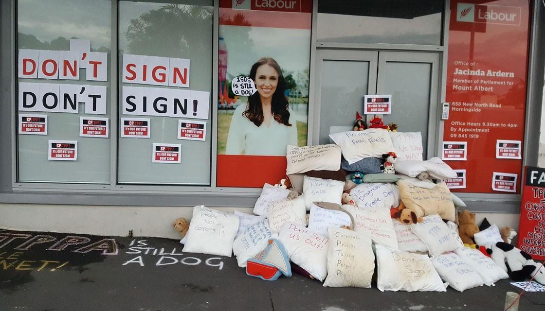 Jacinda Ardern's office was quickly cleared of the mess on Thursday morning. Photo credit: Auckland TPP Action Group/supplied