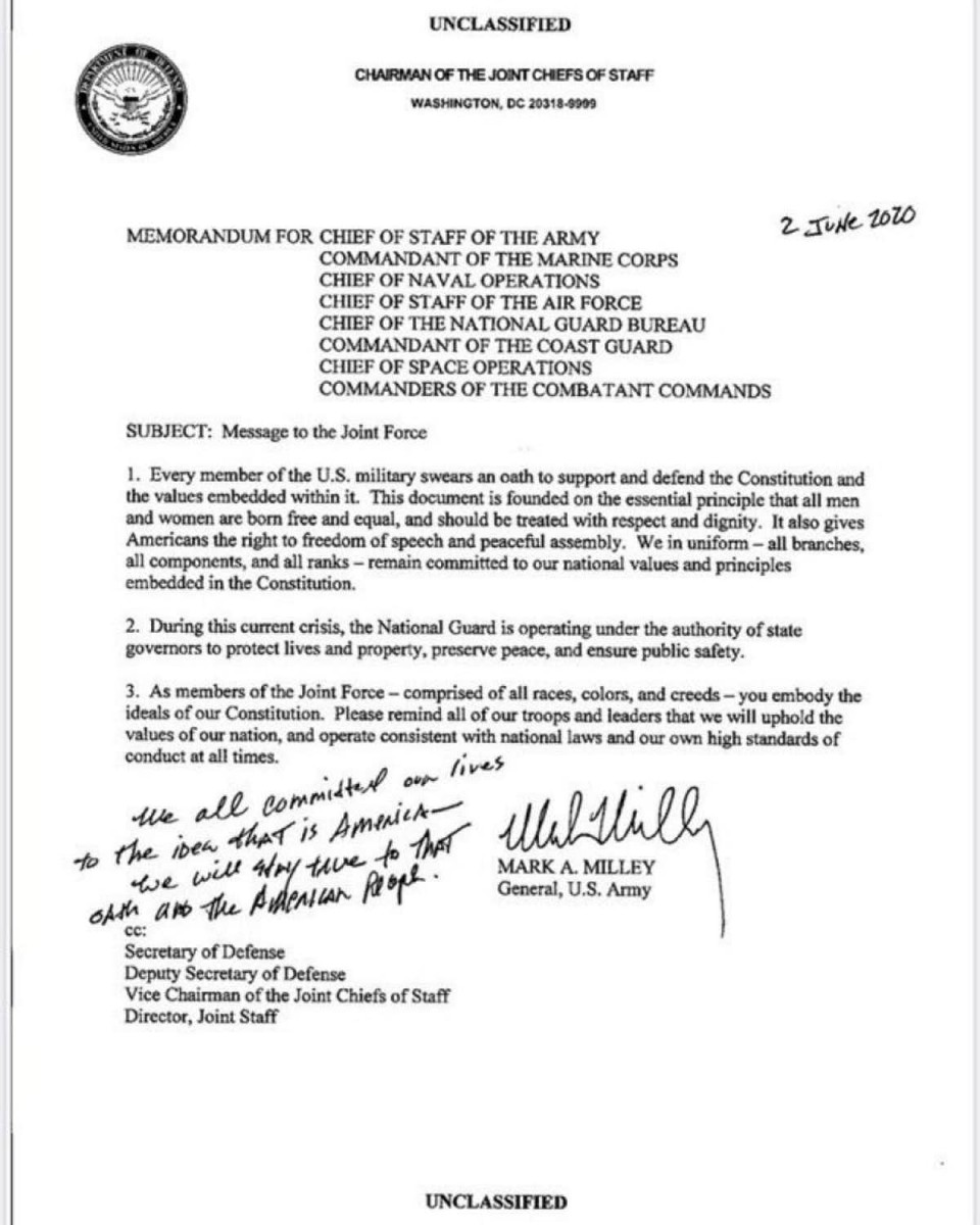 Gen. Mark Milley, chairman of the Joint Chiefs of Staff, sent a military-wide memo on June 2. (Image: Pentagon)