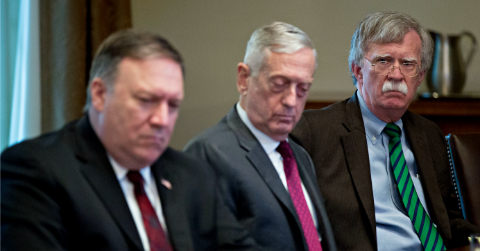 From right: National Security Adviser John Bolton, Defense Secretary Jim Mattis, and Secretary of State Mike Pompeo attend a meeting at the White House on May 17, 2018. (Photo: Andrew Harrer-Pool/Getty Images)