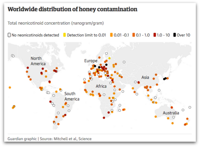 Worldwide distribution of honey contamination